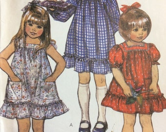 Little Girls Dress Pattern Size 2 McCalls 7452 sleeve variations This Pattern is UNCUT and Factory Folded