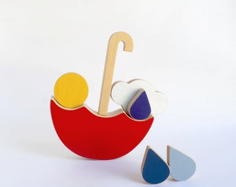 Red Umbrella Wooden Toy, Eco friendly Kids Balancing Toy, Spring game for children