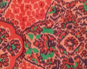 """Vintage Cotton Fabric ~ Mosaic ~ Red Cobalt Green Coral ~ 37"""" wide"""