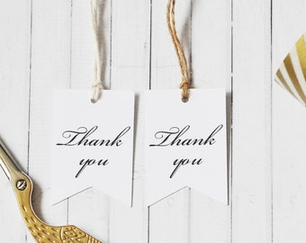 Thank You Gift Tag, Wedding Favor Gift Tags, Pennant Flag, Gift Packaging Tag, Birthday Party Tag, Minimalist Tag, Black and White Tag