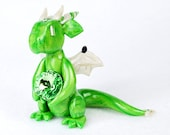 August birthstone dragon with peridot gem - light green dragon figurine - made to order collectible dragon sculpture - birthday present