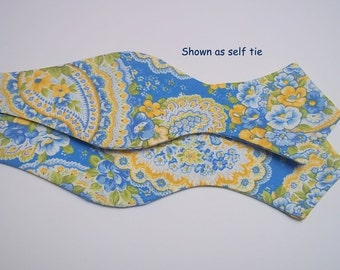 Blue Yellow Paisley Bow tie-Wedding Blue Yellow Colors-Cornflower Blue Pale Yellow Bow Tie-Wedding Paisley Bow Tie