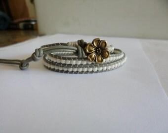 Greenish Gray 1.5mm leather wrap bracelet