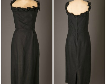 1950s Little Black Linen Dress with Leaf Neckline