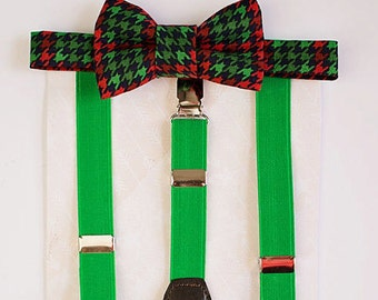 Boy Bow Tie Suspenders Set, Red Green Christmas Bow Tie, Baby Boy Suspenders, Stocking Stuffer, Boys Christmas Outfit, Boys Christmas Gift