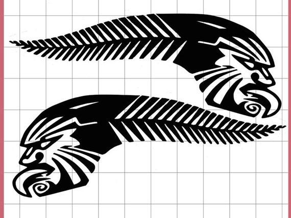items similar to 2x maori tattoo silver fern kiwi pride new zealand maori design car decals car. Black Bedroom Furniture Sets. Home Design Ideas