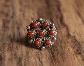 Size 5 - Coral Native American Ring - Vintage Native Ring - Native bohochic ring - southwestern - Sterling Silver ring