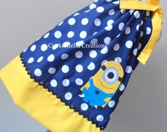 Yellow Guy Blue Polka Dot Pillowcase Dress