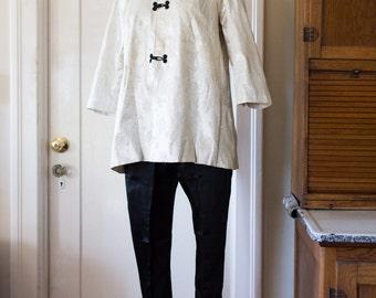 1950s Lurex satin 2pc cigarette pants jacket set, XS S
