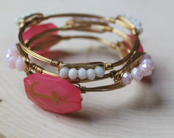 Gold Wire Bangle Bracelet with Pink Beads, Wire-Wrapped
