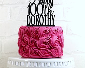 Happy 100th Birthday Cake Topper Personalized with Name and Age