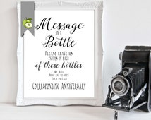 MESSAGE in a bottle, anniversary messages, wedding table sign, guest book, DIY bride, digital file, Wishes for couple, instant download