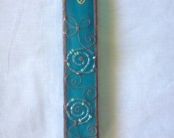 HANDMADE MEZUZAH CASE Special Blue Color with Flowers and Circles Beads Filligree.Stained Glass,Wall Hanging,Jewish Housewarming Gift