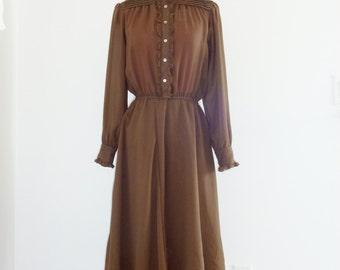 Vintage Brown Chiffon Dress