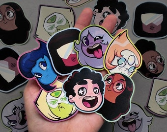 Cute chibi STEVEN UNIVERSE STICKERS - Crystal gems stickers.