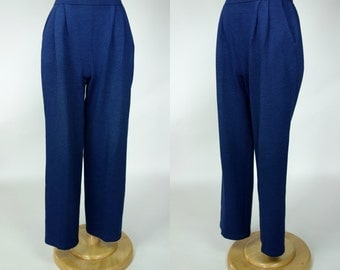 St John blue knit pants w pockets wide leg high waist trousers, small to medium