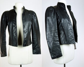 Vintage black leather jacket, cropped petite 80s leather coat, XXS