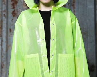 Rain Coat in Transparent Neon Yellow by Get Crooked