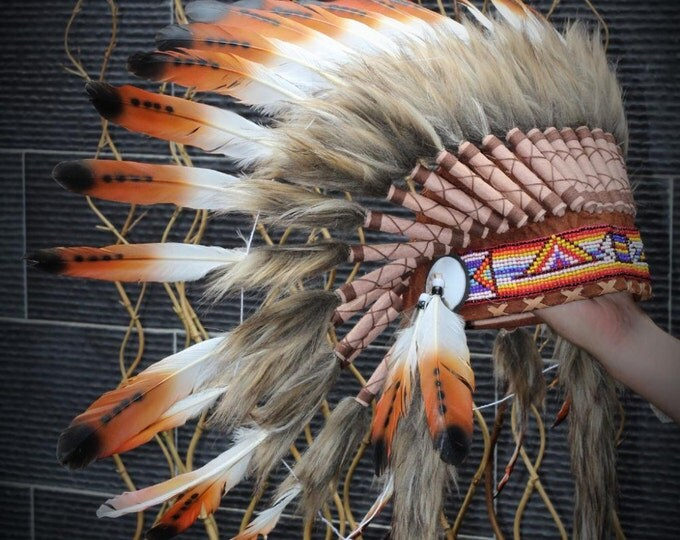 X05 - Three colors brown Chief  Feather Headdress / native american Style  Warbonnet