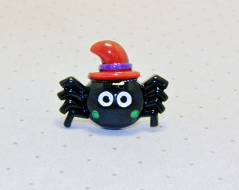 Black Spider With Red Witch Hat Rings, Halloween Ring, Halloween Jewelry, Adjustable Ring, Holiday Ring, Holiday Jewelry, Fun Ring