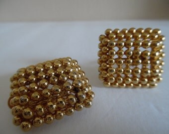 Vintage 1980s F.O. Inc. (Fernando Originals) Gold Tone, Gold Plated Beads in a Square Clip on Earrings