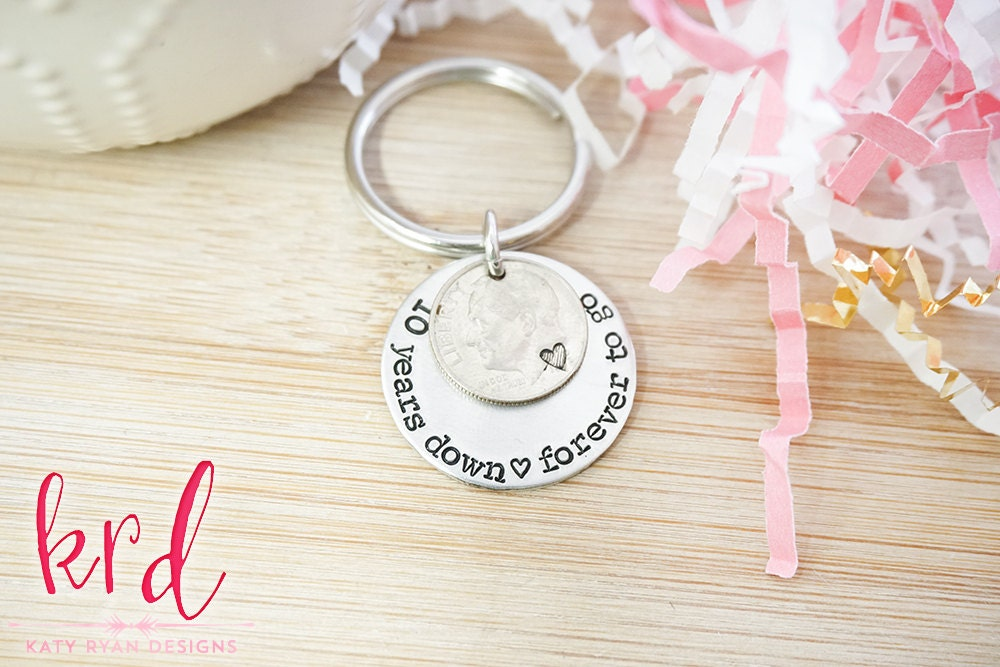 Traditional 45th Wedding Anniversary Gift: 10th Anniversary Dime Key Chain
