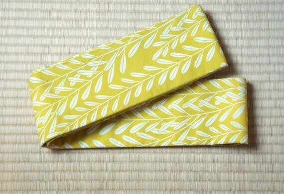 Olive green mens obi belt, leaf Japanese obi belt for men, vintage handmade obi, vintage obi belt light green, kimono belt otoko mens kimono