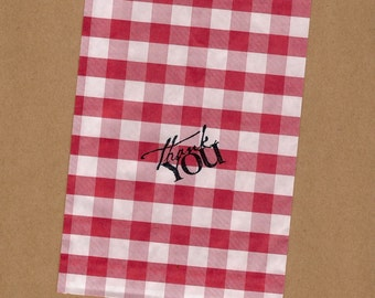 Picnic Gingham treat paper bags party supplies red gingham check gingham wedding party favors cookouts picnics birthday parties