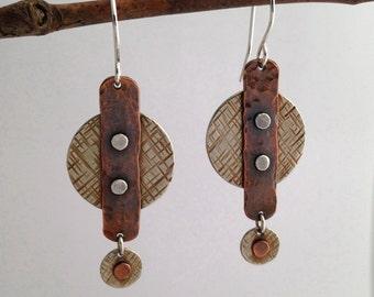 Mixed Metal Earrings, Riveted Metalwork Earrings, Cold Connection Earrings, Textured Earrings, Metalsmith Jewelry, Artisan Jewelry