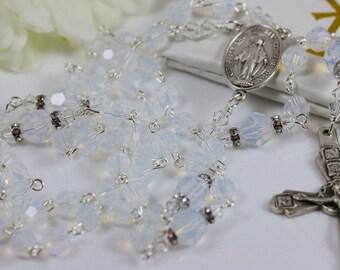 Catholic Swarovski Crystal White Opal Rosary