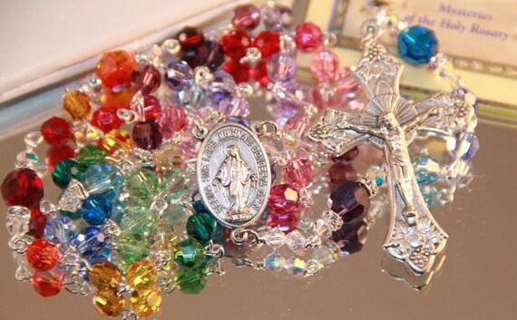 Catholic Swarovski Rainbow Rosary