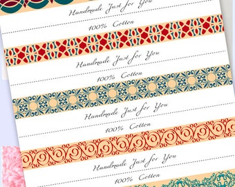 Washcloth, Dishcloth label wraps, wrappers, Geo-Strip1, instant download