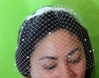 """Preformed round birdcage veil with pearl detail and silk rossettes """"Ariel"""""""