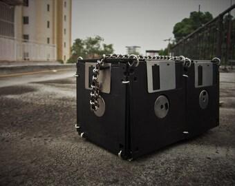 Handmade ecofriendly black floppy disk handbag