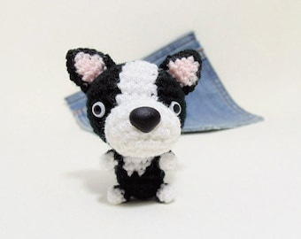 Amigurumi, crochet  Boston Terrier, Puppy Dog toy. Cute Boston Terrier plushie. Crochet dog