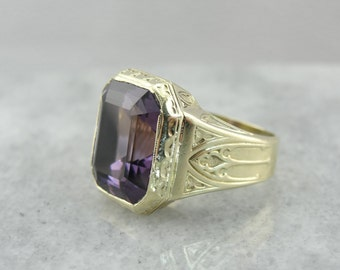 June 13th, 1928: Fantastic Green Gold and Amethyst Unisex Statement Ring  DDUEXE-N