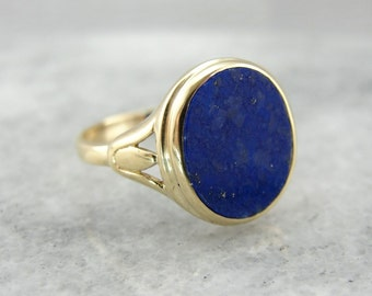 Classic Lapis Lazuli Ring with Pierced Shoulders W032XN-P