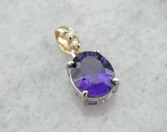 Purple Droplet: Amethyst and Diamond Pendant PFCP22-D