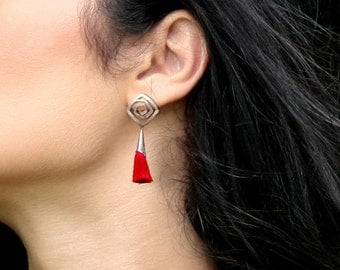 Silver spiral post earrings with red tassels, Boho tassel earrings, Everyday earrings, Bohemian jewelry, Gift for women, 1143-2