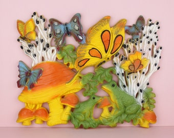 1970s Butterflies and Frogs Homco Wall Hanging