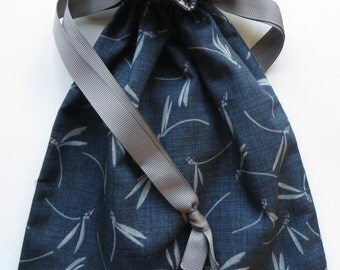 Dragonfly Lined Drawstring Fabric Gift Bag