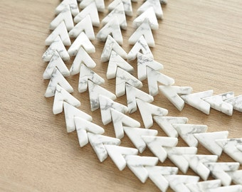 10 pcs of White Howlite Triangle Gemstone Beads