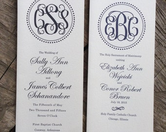 Folded Navy Monogram Wedding Program