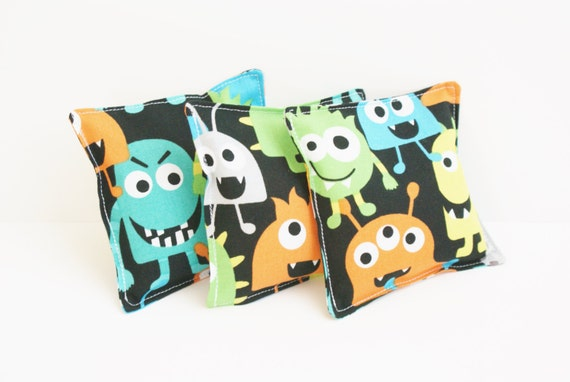 3 monster themed washable bean bags kids beanbag toss game for Monster themed fabric