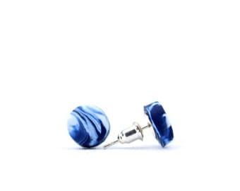 Navy marble studs, Navy marble earrings, marble earrings, navy and white studs, art jewellery, navy earrings, navy studs, unique earrings