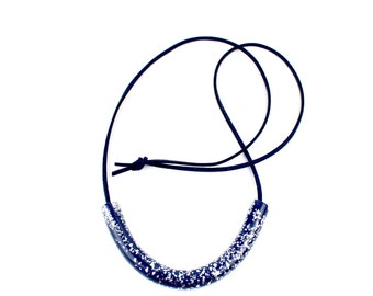 Navy and Silver statement necklace, Navy Curve necklace, Navy statement necklace, Geometric curve necklace, Navy necklace, Wearable art