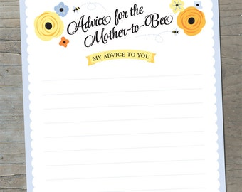 Advice for the Mother to Bee - Baby Shower Printable