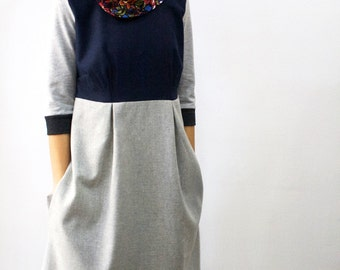 Wool dress with elegant collar, dress with pockets, dress with sleeves, cowl dress, floral, elegant dress, casual dress