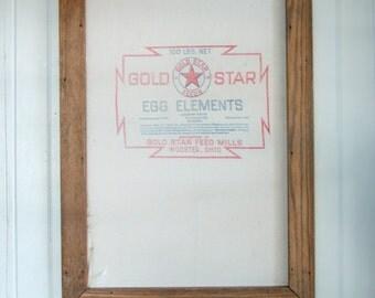 Vintage Feedsack in Reclaimed Wood Frame ~Gold Star Feed Mills Farm Feed Sack ~ Rustic Primitive Farmhouse Style