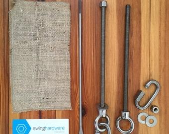 Tree swing hanging hardware - stainless steel